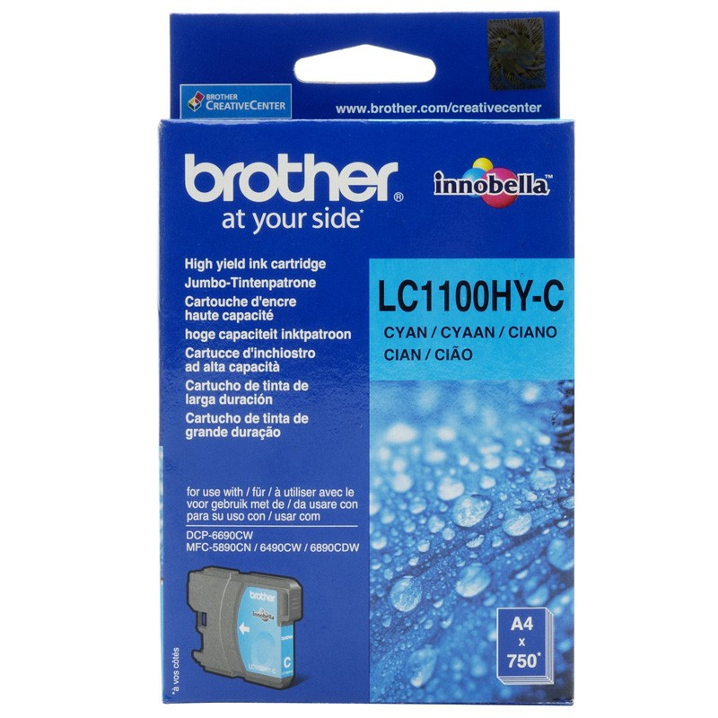 Brother LC1100HYC High Cyan Ink Cartridge (BRLC1100HYC)