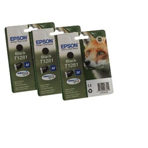 Epson Fox T1281 Black Inkjet Cartridge Triple pack (C13T12814011)