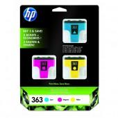 HP 363 3-Pack Multi Colour C/M/Y Ink Cartridges (381725, CB333EE)