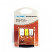 Dymo  Letra Tag  Tape White/Yellow/Silver (Pack of 3)
