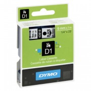 Dymo Glossy Tape Black on Clear 6MM