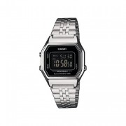 Casio Silver Ladies Digital Watch With Black Face