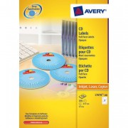 Avery Glossy Full Face CD Labels for Laser Printers L7676 - White