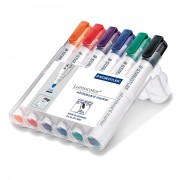Staedtler 351 Lumocolour Whiteboard Marker with Bullet Tip - Assorted Colours, Pack of 6