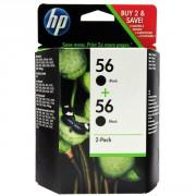 HP 56 Black Ink Cartridges Twin Pack Original - C9502AE