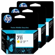 HP 711 Yellow Ink Cartridges DesignJet Pack of 3 - CZ136A