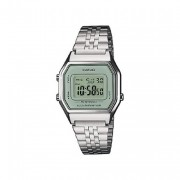 Casio Silver Ladies Digital Watch With White Face