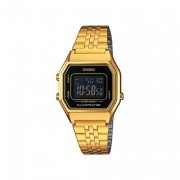 Casio Women's Ladies Gold Plated Digital Watch With Black Face