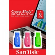 SanDisk Cruzer Blade 8 GB USB Flash Drive USB 2.0 - Pack of 3
