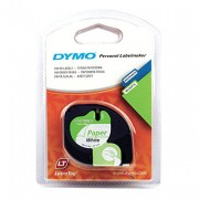 DYMO LETRATAG 12MMX4M Personal White Paper Tape